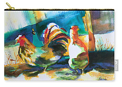 Carry-all Pouch featuring the painting Veridian Chicken by Kathy Braud