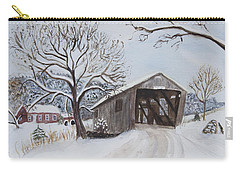 Vermont Covered Bridge In Winter Carry-all Pouch by Donna Walsh