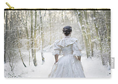 Victorian Woman Running Through A Winter Woodland With Fallen Sn Carry-all Pouch by Lee Avison