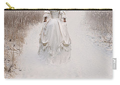 Victorian Woman Walking Through A Winter Meadow Carry-all Pouch by Lee Avison