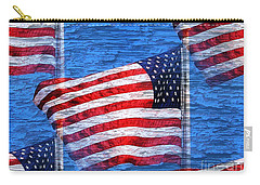 Vintage Amercian Flag Abstract Carry-all Pouch by Judy Palkimas
