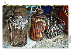 Carry-all Pouch featuring the photograph Hdr Vintage Art  Cans And Bottles by Lesa Fine
