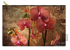Vintage Burnt Orange Orchids Carry-all Pouch by Judy Palkimas