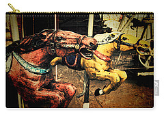 Vintage Carousel Horses 002 Carry-all Pouch by Tony Grider