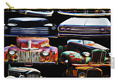 Vintage Cars Collage 2 Carry-all Pouch by Cathy Anderson