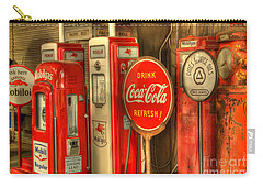Vintage Gasoline Pumps With Coca Cola Sign Carry-all Pouch