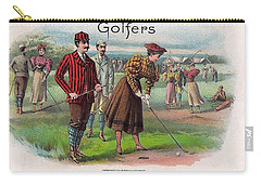Carry-all Pouch featuring the digital art Vintage Golfers by Maciek Froncisz