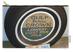 Carry-all Pouch featuring the photograph Vintage Gulf Tire With Ad Plate by Lesa Fine