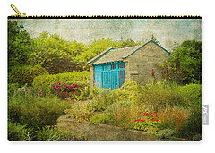 Vintage Inspired Garden Shed With Blue Door Carry-all Pouch