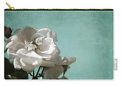 Carry-all Pouch featuring the photograph Vintage Inspired White Roses On Aqua Blue Green - by Brooke T Ryan