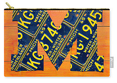 Vintage Michigan License Plate Art Carry-all Pouch by Design Turnpike
