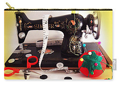 Carry-all Pouch featuring the photograph Vintage Mini Sewing Machine by Shawna Rowe