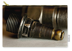 Carry-all Pouch featuring the photograph Vintage Motorcycle Spark Plugs by Wilma  Birdwell