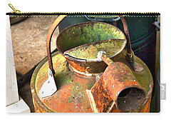 Carry-all Pouch featuring the photograph Vintage Orange And Green Galvanized Containers by Lesa Fine