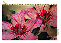 Vintage Painted Pink Lily Carry-all Pouch by Judy Palkimas