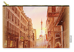 Carry-all Pouch featuring the painting Vintage Paris Street Eiffel Tower View by Irina Sztukowski