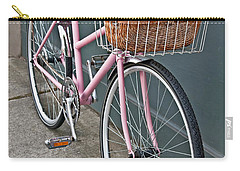 Vintage Pink Bicycle With Pink Flowers Art Prints Carry-all Pouch
