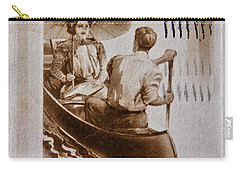 Vintage Post Card Of Couple In Boat Art Prints Carry-all Pouch