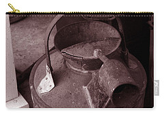 Carry-all Pouch featuring the photograph Vintage Sepia Galvanized Container by Lesa Fine