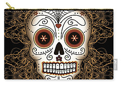 Vintage Sugar Skull Carry-all Pouch by Tammy Wetzel