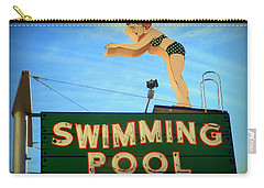 Vintage Swimming Lady Hotel Sign Carry-all Pouch by Karyn Robinson