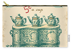 Vintage Tea Time Sign Carry-all Pouch by Jean Plout