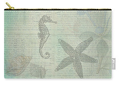 Carry-all Pouch featuring the drawing Vintage Under The Sea by Peggy Collins