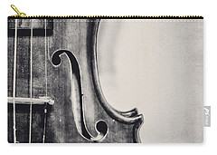 Vintage Violin Portrait In Black And White Carry-all Pouch