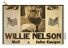 Vintage Willie Nelson 1985 Farm Aid Poster Carry-all Pouch by John Stephens