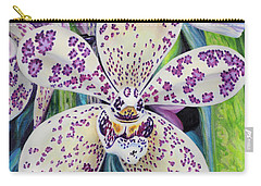 Carry-all Pouch featuring the painting Violet Dotted Orchid by Jane Girardot