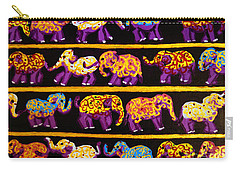 Carry-all Pouch featuring the painting Violet Elephants by Cassandra Buckley