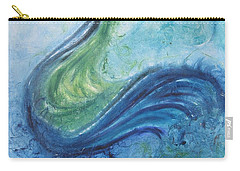 Carry-all Pouch featuring the painting Peacock Vision In The Mist by Diane Pape
