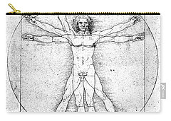 Vitruvian Guitar Man Bw Carry-all Pouch by Jon Neidert