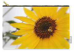 Carry-all Pouch featuring the photograph Vivid Sunflower With Bee Fine Art Nature Photography  by Jerry Cowart