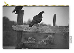 Carry-all Pouch featuring the photograph Vultures On Fence by Bradley R Youngberg