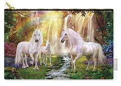 Waaterfall Glade Unicorns Carry-all Pouch by Jan Patrik Krasny