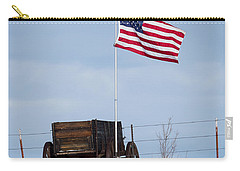 Carry-all Pouch featuring the photograph Wagon And Flag by Michael Chatt