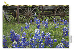 Wagon With Bluebonnets Carry-all Pouch by Susan Rovira