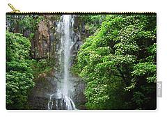 Carry-all Pouch featuring the photograph Waikani Falls At Wailua Maui Hawaii by Connie Fox