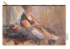 Waiting For Her Moment - Impressionist Oil Painting Carry-all Pouch