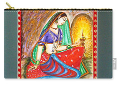 Carry-all Pouch featuring the painting Waiting  by Harsh Malik