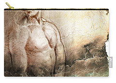 Carry-all Pouch featuring the drawing Waiting With Mood Texture by Paul Davenport