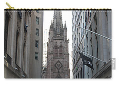 Carry-all Pouch featuring the photograph Wall Street Leading To Trinity Church by John Telfer