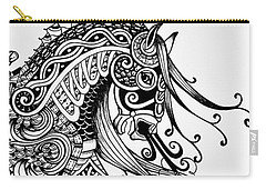Carry-all Pouch featuring the drawing War Horse - Zentangle by Jani Freimann