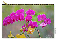 Warbler Posing In Orchids Carry-all Pouch