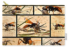 Carry-all Pouch featuring the photograph Wasp And His Kill by Miroslava Jurcik