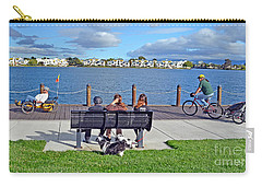 Carry-all Pouch featuring the photograph Watching The Bikes Go By At Congressman Leo Ryan's Memorial Park by Jim Fitzpatrick