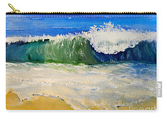 Watching The Wave As Come On The Beach Carry-all Pouch by Pamela  Meredith