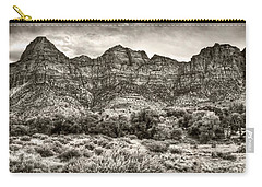 Carry-all Pouch featuring the photograph Watchman Trail In Sepia - Zion by Tammy Wetzel
