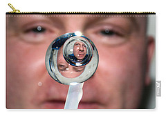 Carry-all Pouch featuring the photograph Water Droplet On The Iss by Science Source